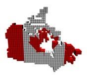 Kanada-Kartenmarkierungsfahne gebildet von den Behältern Stockfotos