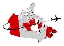 Kanada mapy flaga z samolotu i swoosh ilustracją Zdjęcie Royalty Free