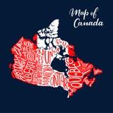 Kanada mapy prowincja i terytorium literowanie ilustracja wektor