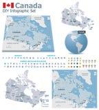 Kanada mapy z markierami ilustracji