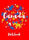 Kanada-Markstein-Reise und Reise Infographic-Vektor-Design Kanada-Landdesignschablone Stockfotos