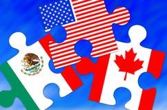 Kanada, Mexico och stycken för USA-flaggapussel Royaltyfri Foto