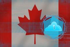 Kanada molnlagring begreppet för oklarheten 3d framför säkerhet Arkivfoto