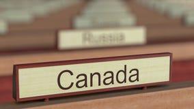 Kanada-Namenzeichen unter verschiedenen Landplaketten an der internationalen Organisation lizenzfreie abbildung