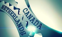 Kanada Nederländerna - mekanism av metallkuggekugghjul 3d royaltyfri illustrationer