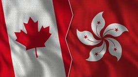 Kanada och Hong Kong Half Flags Together fotografering för bildbyråer
