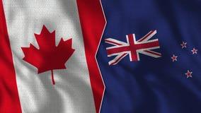 Kanada och Nya Zeeland halva flaggor TogetherMongolia stock illustrationer