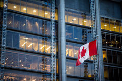 Kanada och Ontario flaggor framme av skyskrapor i Toronto fotografering för bildbyråer