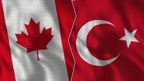 Kanada och Turkiet halva flaggor tillsammans royaltyfria foton