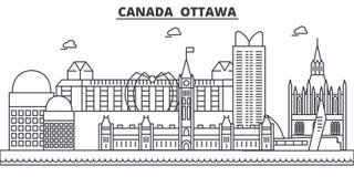 Kanada Ottawa arkitekturlinje horisontillustration Linjär vektorcityscape med berömda gränsmärken, stad siktar Arkivfoton
