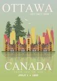 Kanada ottawa Kanadensisk vektorillustration tappning för stil för illustrationlilja röd Loppvykort stock illustrationer