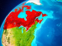 Kanada på jord från utrymme Royaltyfri Bild