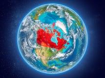 Kanada på planetjord i utrymme Fotografering för Bildbyråer