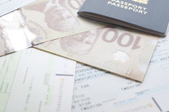 Kanada paszport z abordaż przepustką obrazy royalty free