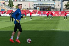 Kanada piłki nożnej mężczyzna ` s drużyna narodowa. sesja szkoleniowa obrazy stock