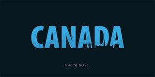 Kanada Podróży bunner z sylwetkami widoki czas podróży również zwrócić corel ilustracji wektora ilustracja wektor