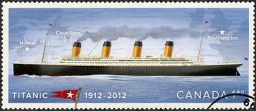 KANADA - 2012: przedstawienia pokazują Tytanicznego, biel gwiazdy linia, Tytaniczny stulecie 1912-2012 Obraz Stock