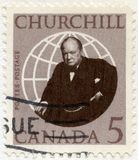 KANADA - 1965: przedstawienia Sir Winston Spencer Churchill 1874-1965, polityk fotografia stock