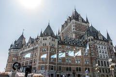 Kanada Quebec City 13 09 Chateau 2017 Frontenac som mest berömd UNESCOvärldsarv för turist- dragning sjunker under Royaltyfri Bild