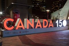 Kanada 150 rocznicy znak Toronto, Kanada Zdjęcia Stock
