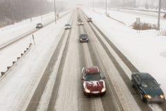 Kanada som kör vinter Arkivbild