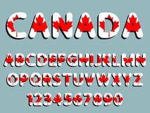 Kanada stilsortsalfabet och tal Royaltyfri Foto