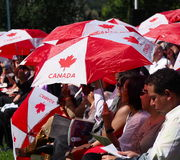 Kanada-Tag, der herein für neue Kanadier schwört Stockbild