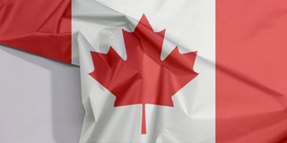Kanada tkaniny flaga zagniecenie z biel przestrzenią i krepa zdjęcia royalty free