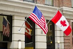 Kanada USA flaggor Royaltyfri Bild