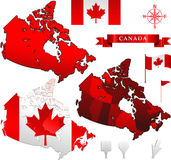 Kanada-vektorkarte und -markierungsfahne Lizenzfreie Stockbilder
