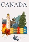 kanada Von Meer zu Meer Kanadische Vektorillustration Abbildung der roten Lilie Reisepostkarte Lizenzfreie Stockfotos