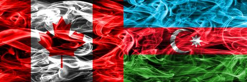 Kanada vs Azerbajdzjan rök sjunker den förlade sidan - förbi - sidan Kanadensare a royaltyfria bilder