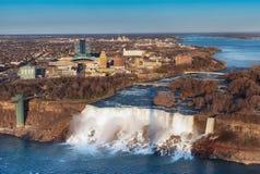 Kanadensare Niagara Falls f?r flyg- sikt royaltyfria bilder
