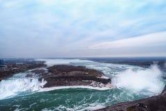Kanadensare Niagara Falls f?r flyg- sikt royaltyfri fotografi
