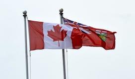 Kanadensare och Ontario flaggor på den fulla masten arkivfoto