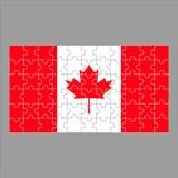 Kanadensisk flagga från pussel på en grå färg royaltyfri illustrationer