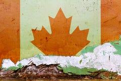 Kanadensisk flagga som målas på en betongvägg Kanada flagga texturerad abstrakt bakgrund Royaltyfri Fotografi