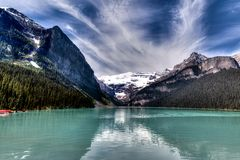 Kanadensisk gränsmärke: Lake Louise i Alberta, Kanada Royaltyfri Fotografi