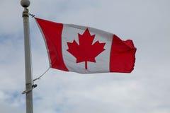 Kanadensisk nationsflaggahimmel fördunklar blåsig dag Arkivbilder