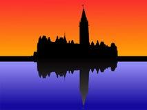 kanadensisk parlamentsolnedgång vektor illustrationer