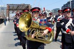 Kanadensisk soldat för marschmusikband Arkivbilder