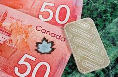 Kanadensisk valuta och silverstång Royaltyfri Fotografi