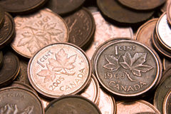 Kanadensiska encentmynt Arkivfoto