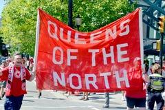 Kanadensiska fans ankommer till BC Place Stadium Royaltyfri Bild