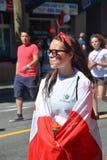 Kanadensiska fans ankommer till BC Place Stadium Royaltyfria Bilder