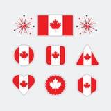 Kanadensiska nationsflaggasymboler ställde in på modern grå bakgrund Arkivbilder