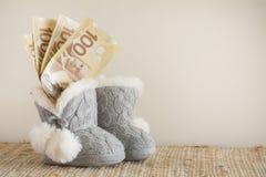 Kanadensiska pengar i begynnande kängor för ` s arkivfoto