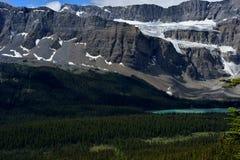 kanadensiska rockies Ranunkelglaciär och pilbåge sjö Royaltyfri Foto