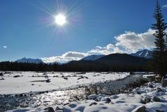 Kanadensiska steniga berg, armbågeflod, natur Arkivbild