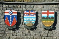 Kanadensiska vapensköldar för Saskatchewan, Manitoba och Alberta fotografering för bildbyråer